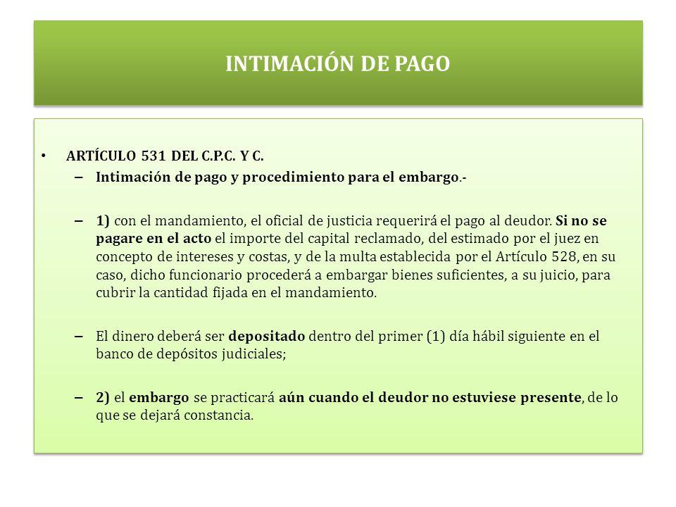 INTIMACIÓN DE PAGO ARTÍCULO 531 DEL C.P.C. Y C.