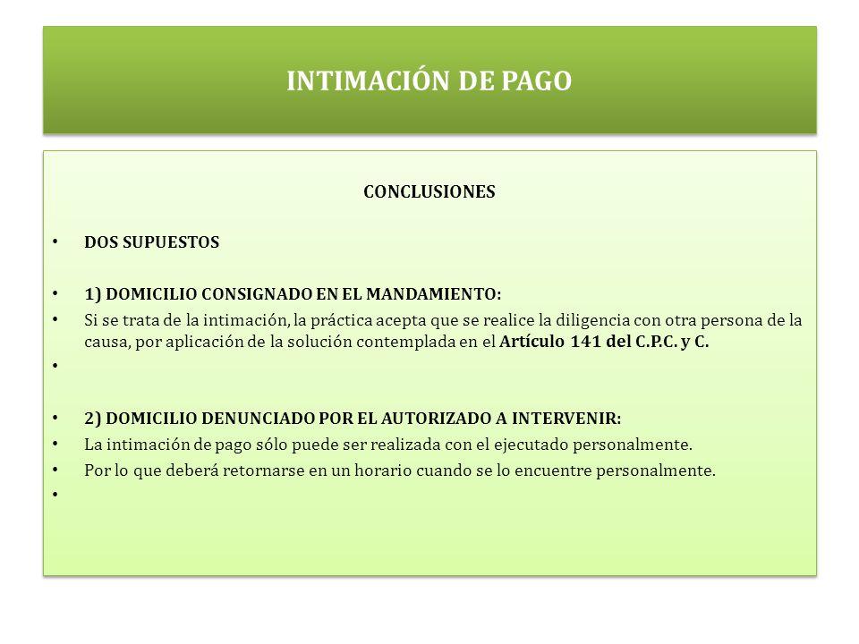 INTIMACIÓN DE PAGO CONCLUSIONES DOS SUPUESTOS