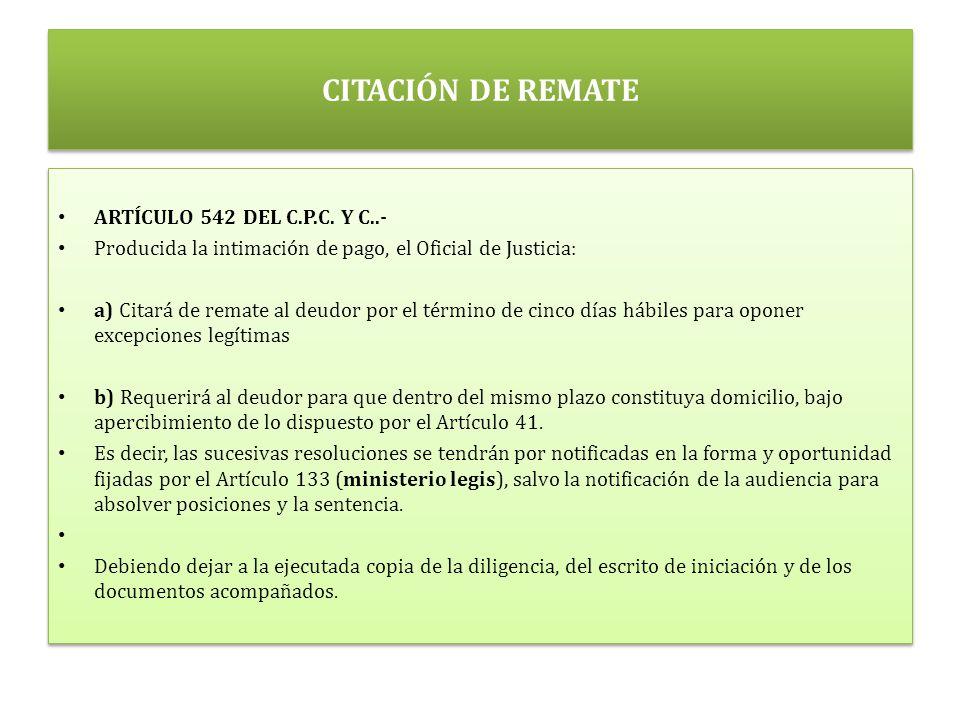 CITACIÓN DE REMATE ARTÍCULO 542 DEL C.P.C. Y C..-