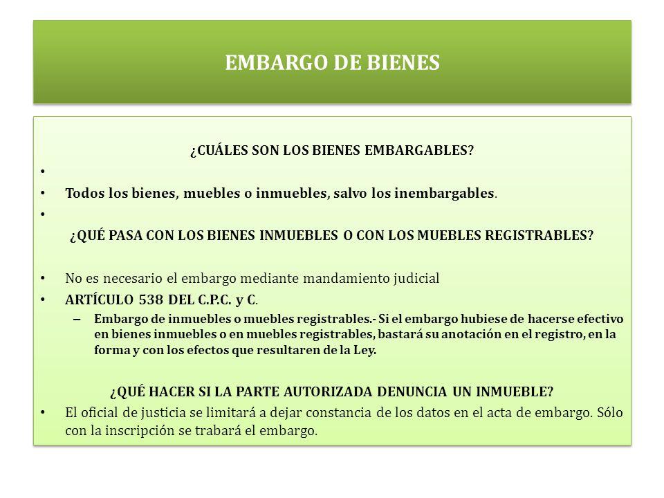 EMBARGO DE BIENES ¿CUÁLES SON LOS BIENES EMBARGABLES