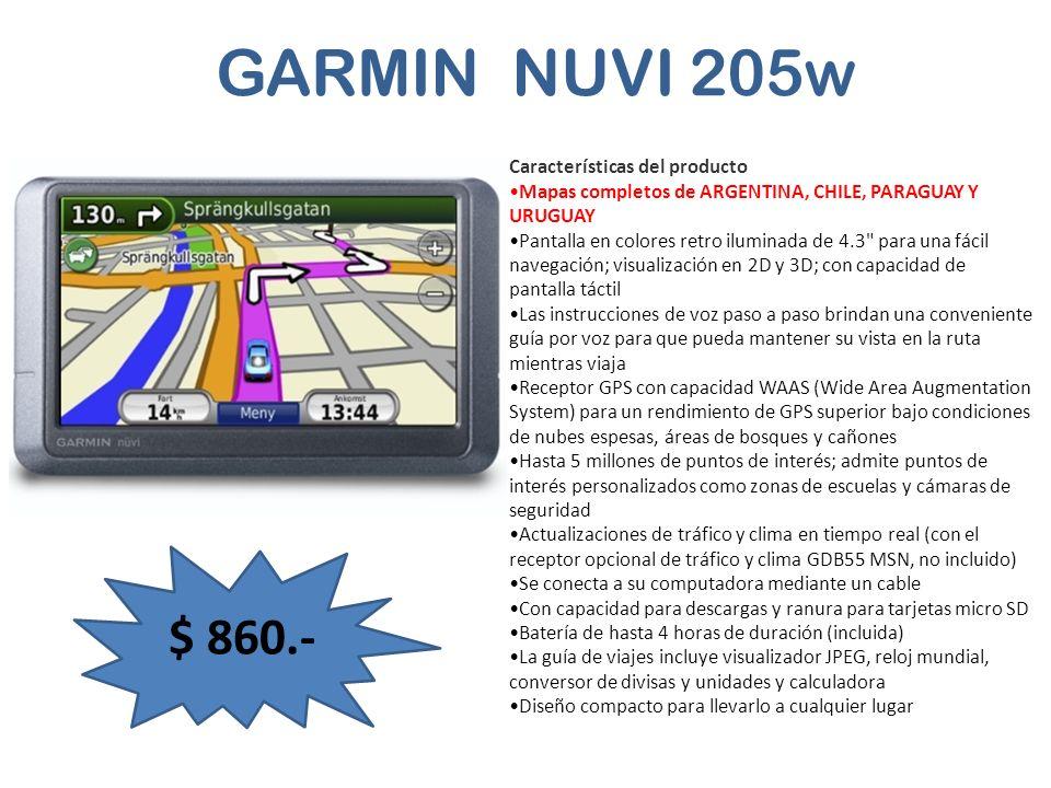 GARMIN NUVI 205w $ 860.- Características del producto