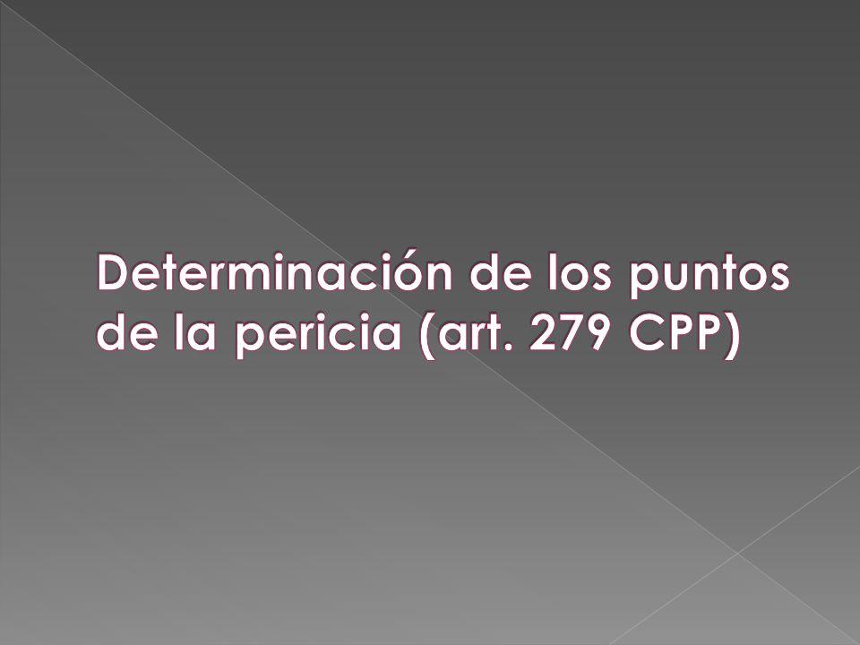 Determinación de los puntos de la pericia (art. 279 CPP)