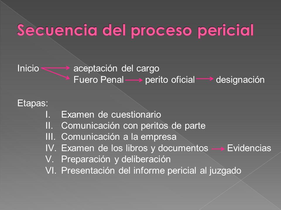 Secuencia del proceso pericial