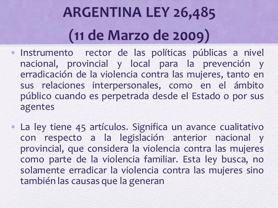 ARGENTINA LEY 26,485 (11 de Marzo de 2009)