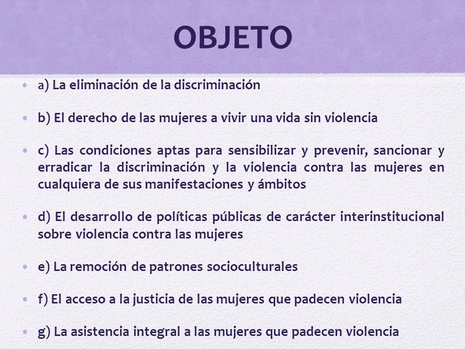 OBJETO b) El derecho de las mujeres a vivir una vida sin violencia