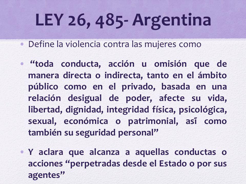 LEY 26, 485- Argentina Define la violencia contra las mujeres como