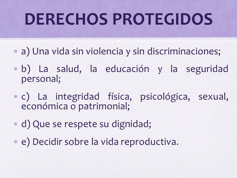 DERECHOS PROTEGIDOS a) Una vida sin violencia y sin discriminaciones;
