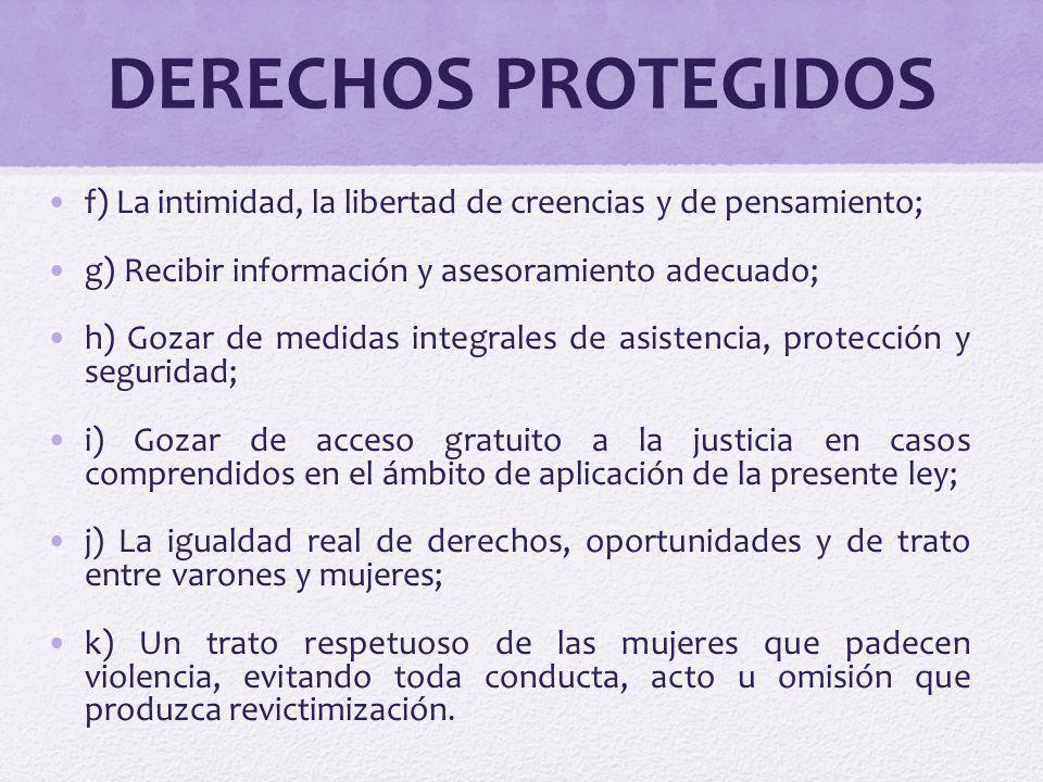 DERECHOS PROTEGIDOS f) La intimidad, la libertad de creencias y de pensamiento; g) Recibir información y asesoramiento adecuado;