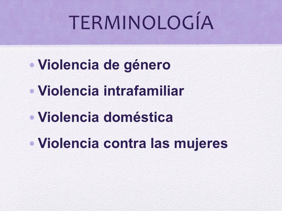 TERMINOLOGÍA Violencia de género Violencia intrafamiliar