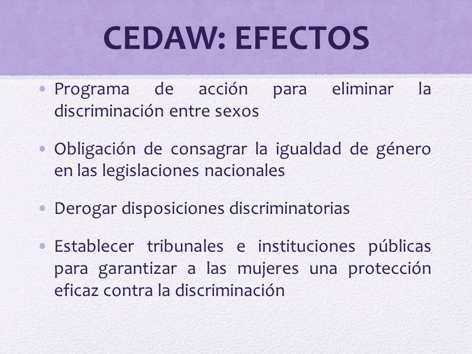 CEDAW: EFECTOS Programa de acción para eliminar la discriminación entre sexos.