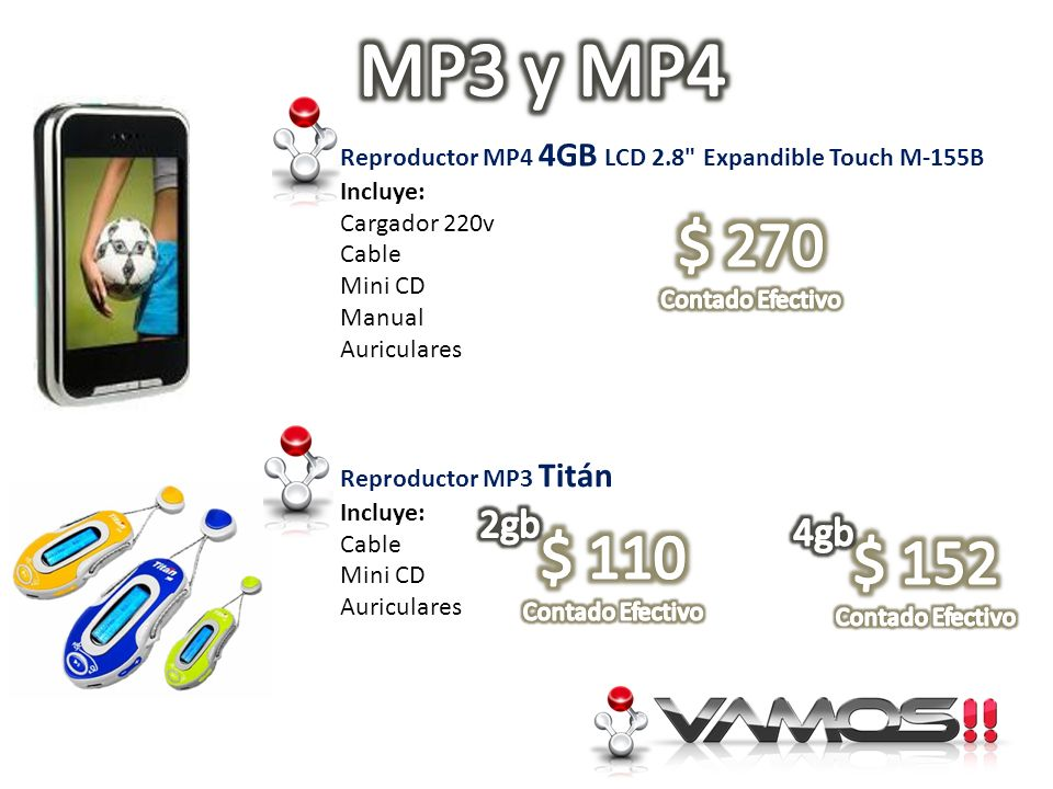 MP3 y MP4Reproductor MP4 4GB LCD 2.8 Expandible Touch M-155B. Incluye: Cargador 220v. Cable. Mini CD.