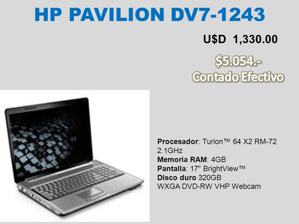 HP PAVILION DV7-1243 $5.054.- Contado Efectivo U$D 1,330.00
