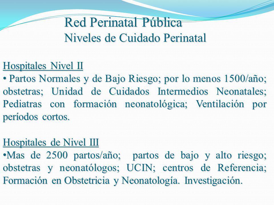 Red Perinatal Pública Niveles de Cuidado Perinatal Hospitales Nivel II