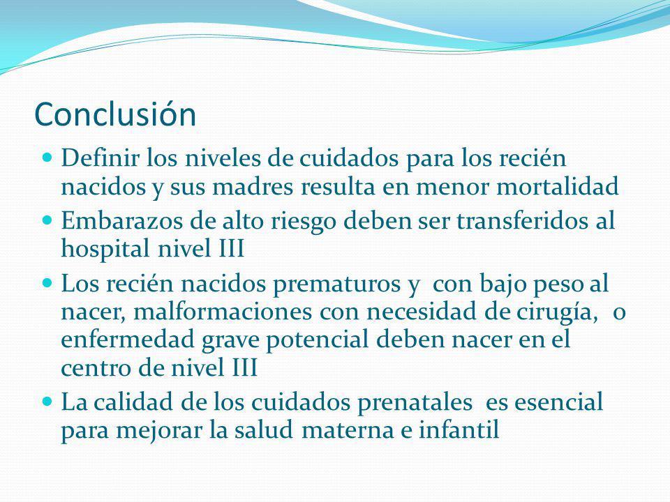 Conclusión Definir los niveles de cuidados para los recién nacidos y sus madres resulta en menor mortalidad.