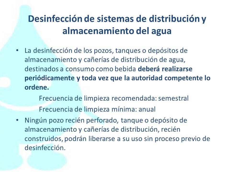 Desinfección de sistemas de distribución y almacenamiento del agua
