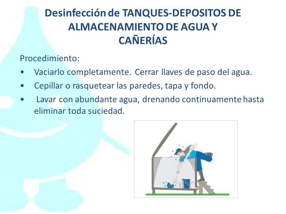 Desinfección de TANQUES-DEPOSITOS DE ALMACENAMIENTO DE AGUA Y CAÑERÍAS