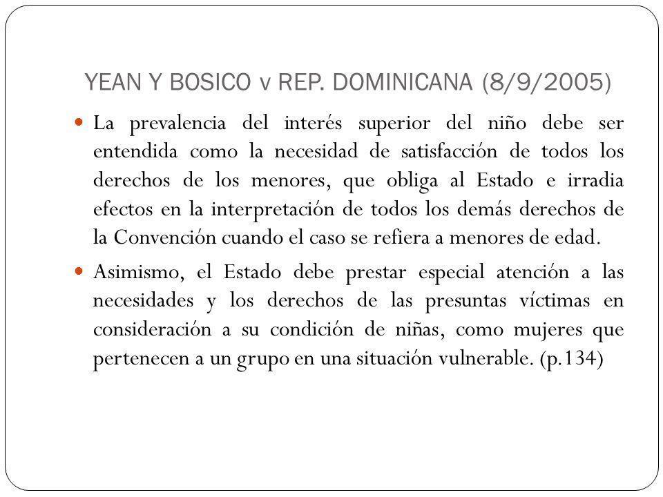 YEAN Y BOSICO v REP. DOMINICANA (8/9/2005)