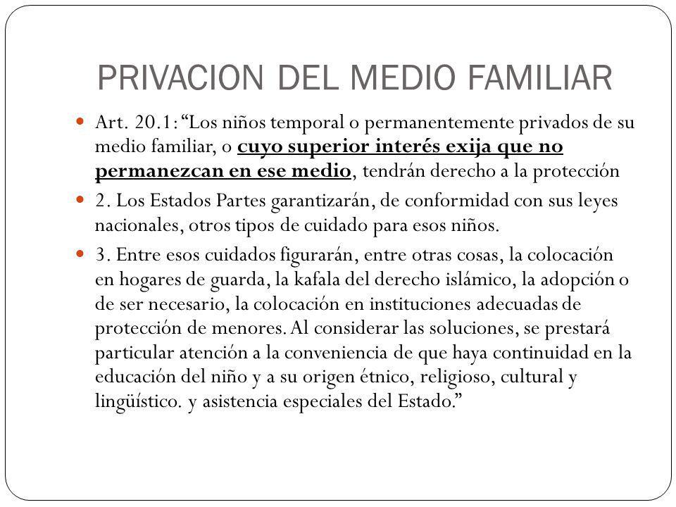 PRIVACION DEL MEDIO FAMILIAR
