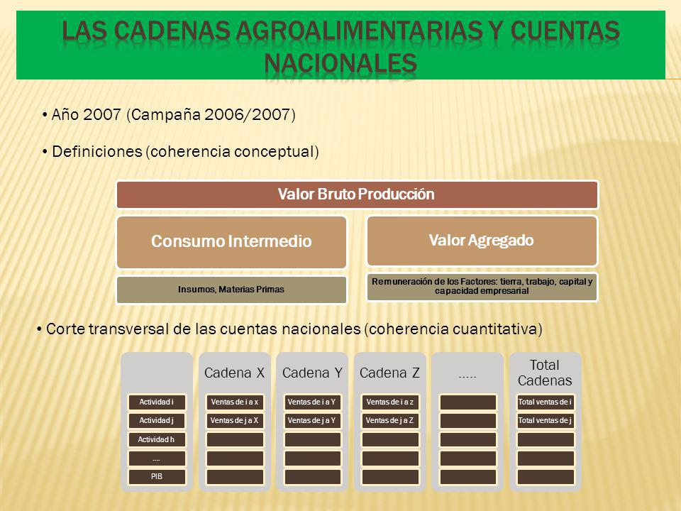 Las Cadenas Agroalimentarias y Cuentas Nacionales