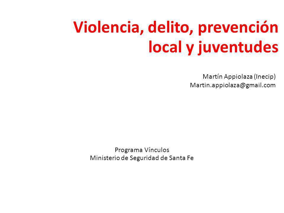 Violencia, delito, prevención local y juventudes