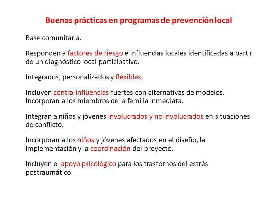 Buenas prácticas en programas de prevención local