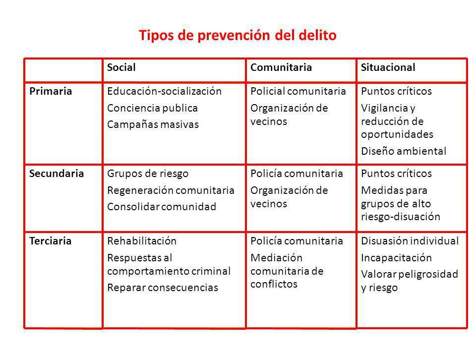 Tipos de prevención del delito