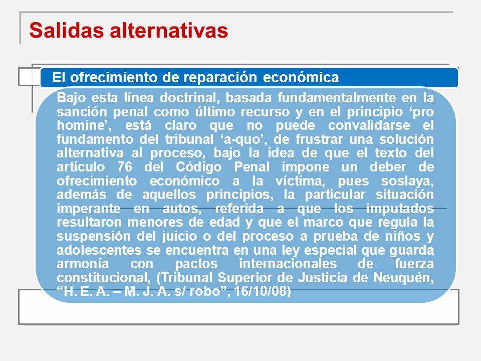 Salidas alternativas El ofrecimiento de reparación económica
