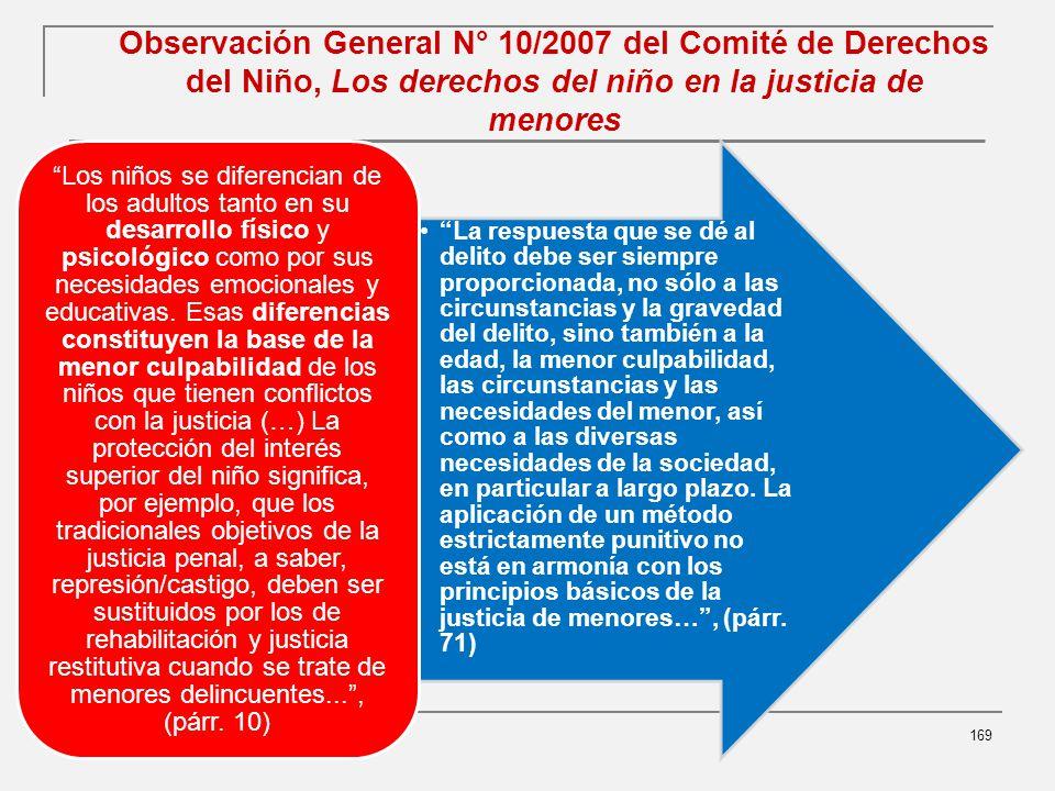 Observación General N° 10/2007 del Comité de Derechos del Niño, Los derechos del niño en la justicia de menores