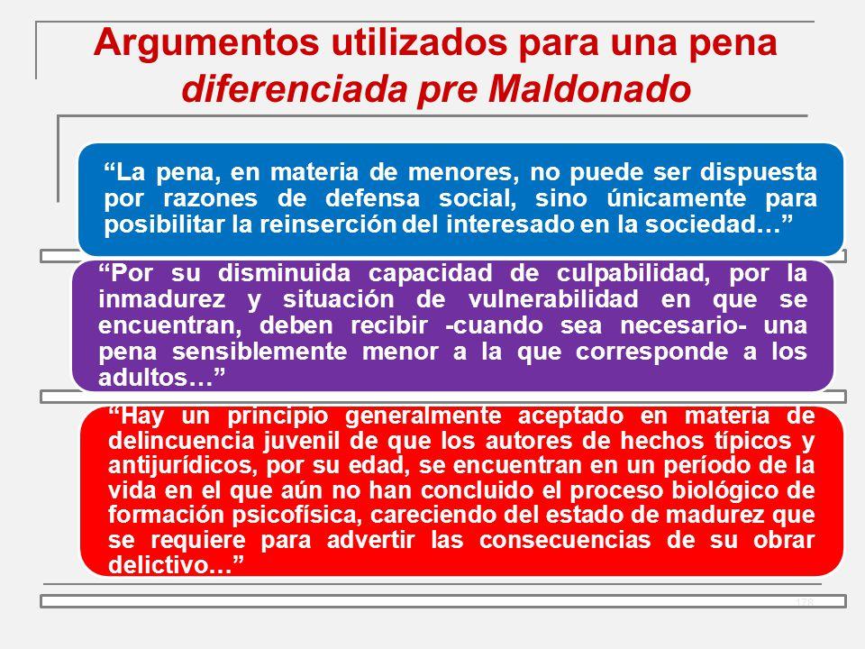 Argumentos utilizados para una pena diferenciada pre Maldonado