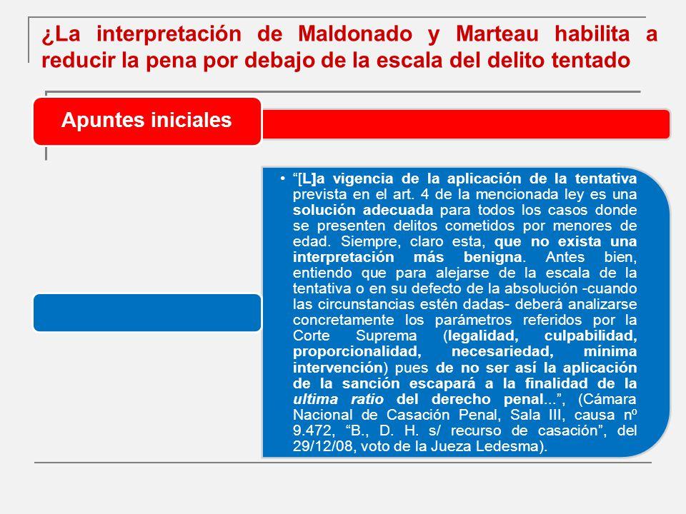 ¿La interpretación de Maldonado y Marteau habilita a reducir la pena por debajo de la escala del delito tentado