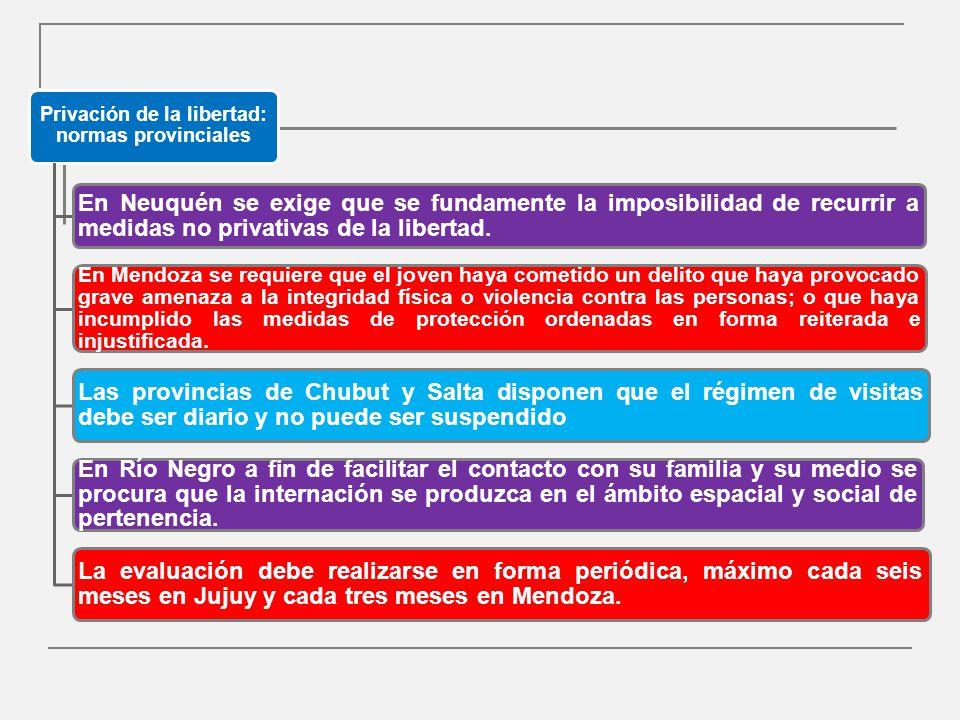 Privación de la libertad: normas provinciales