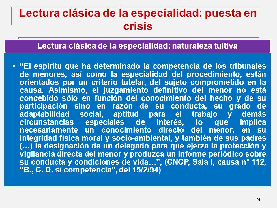 Lectura clásica de la especialidad: puesta en crisis