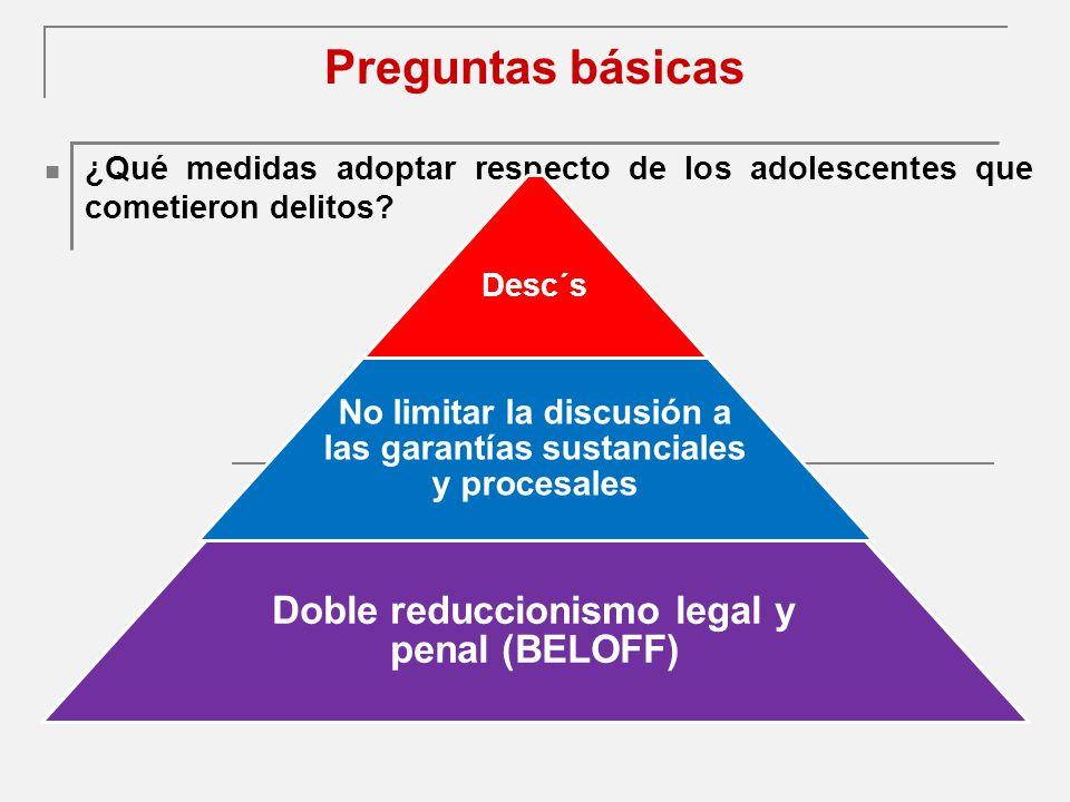 Preguntas básicas Doble reduccionismo legal y penal (BELOFF)