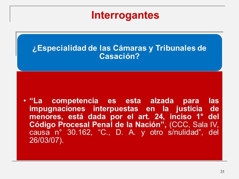 ¿Especialidad de las Cámaras y Tribunales de Casación