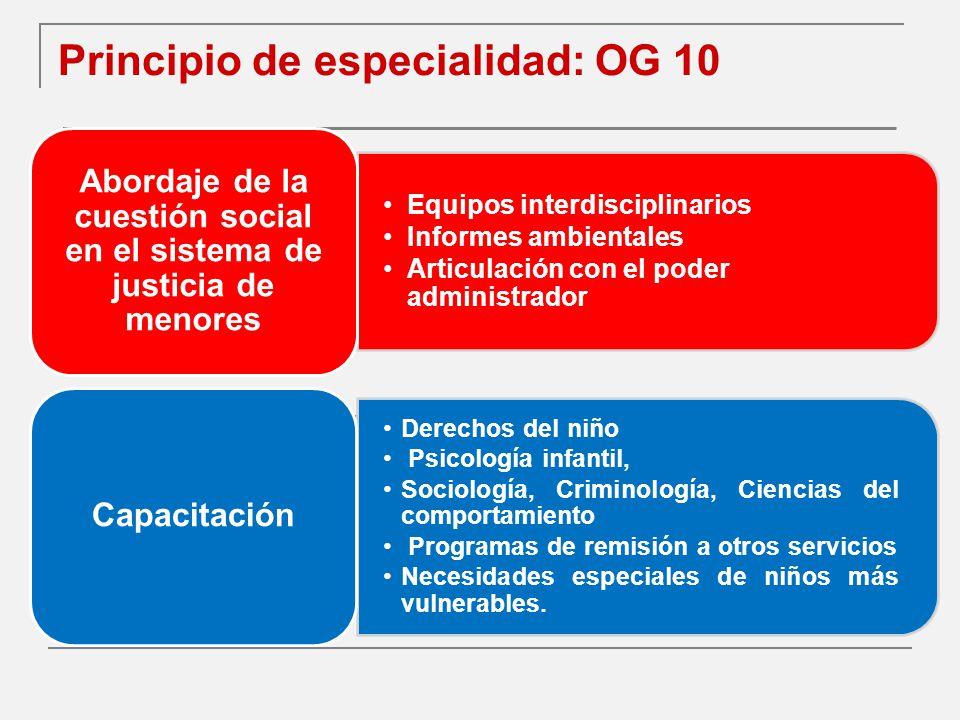 Principio de especialidad: OG 10