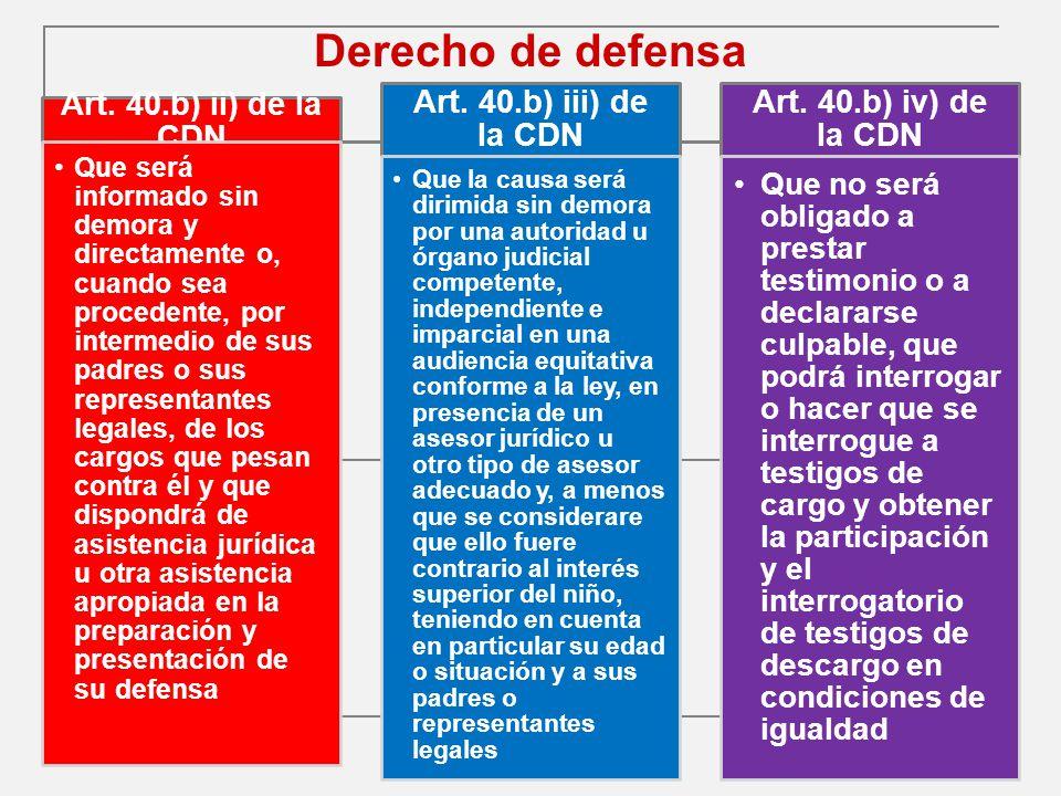 Derecho de defensa Art. 40.b) ii) de la CDN Art. 40.b) iii) de la CDN