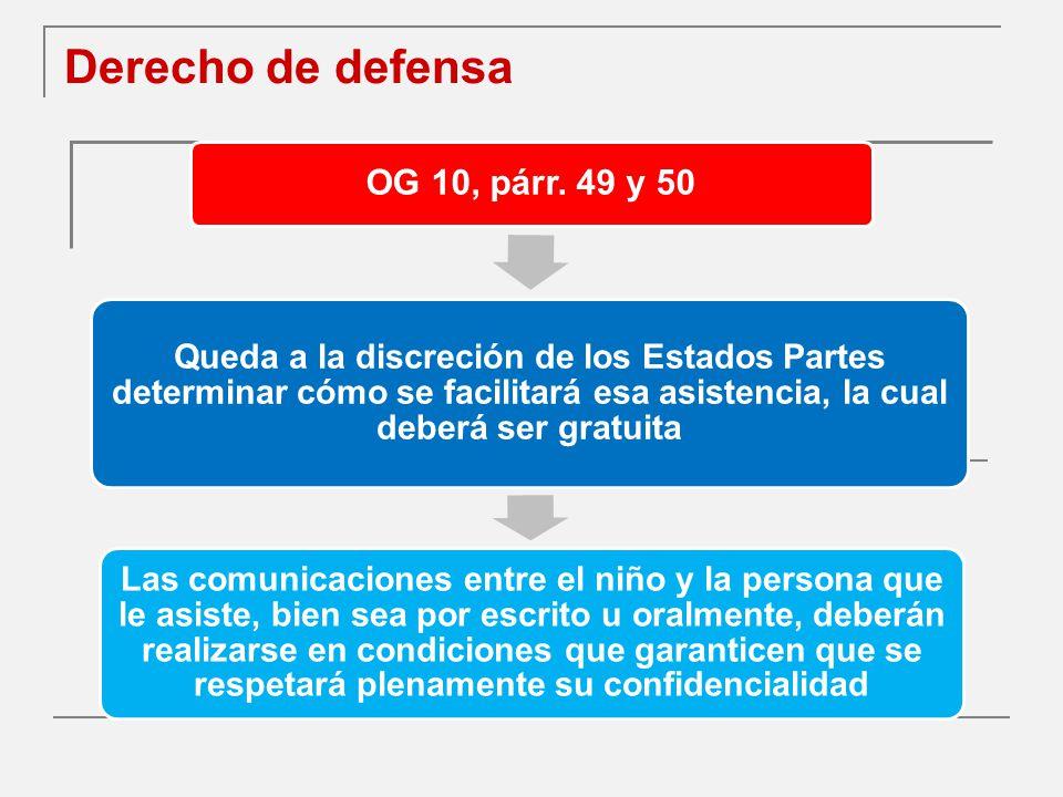 Derecho de defensa OG 10, párr. 49 y 50