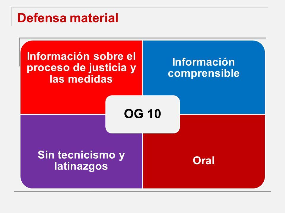 Defensa material OG 10. Información sobre el proceso de justicia y las medidas. Información comprensible.