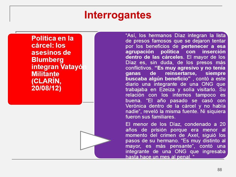 Interrogantes Política en la cárcel: los asesinos de Blumberg integran Vatayón Militante (CLARÍN, 20/08/12)
