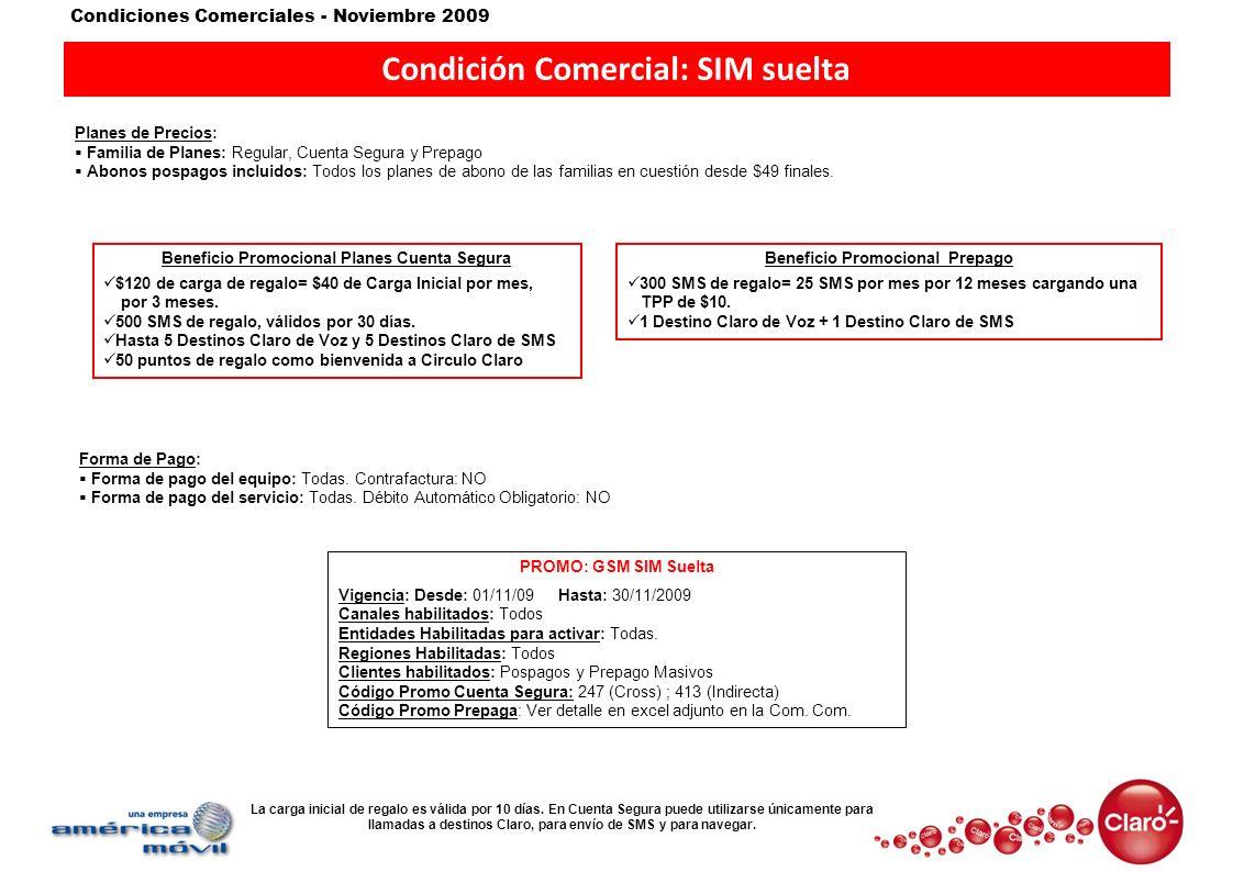 Condición Comercial: SIM suelta