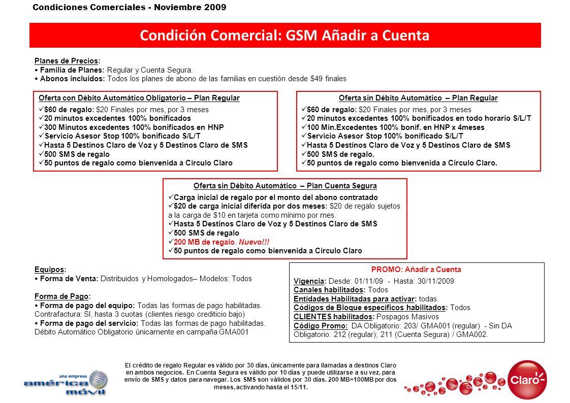 Condición Comercial: GSM Añadir a Cuenta
