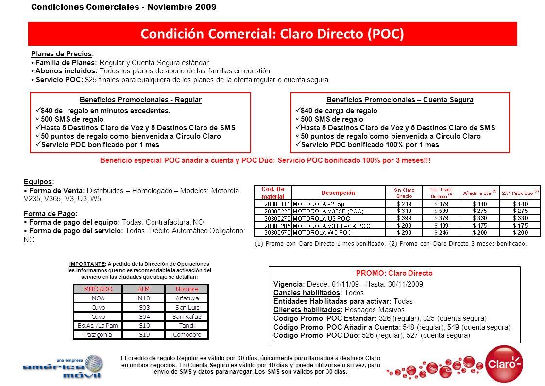 Condición Comercial: Claro Directo (POC)