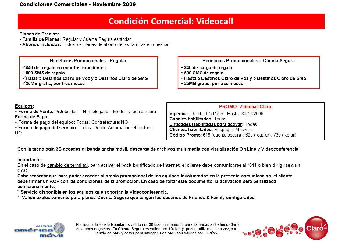 Condición Comercial: Videocall