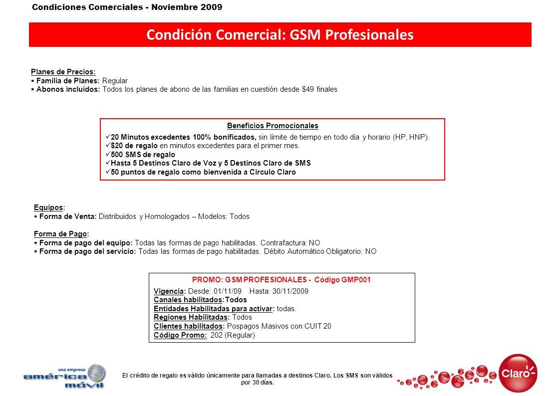 Condición Comercial: GSM Profesionales