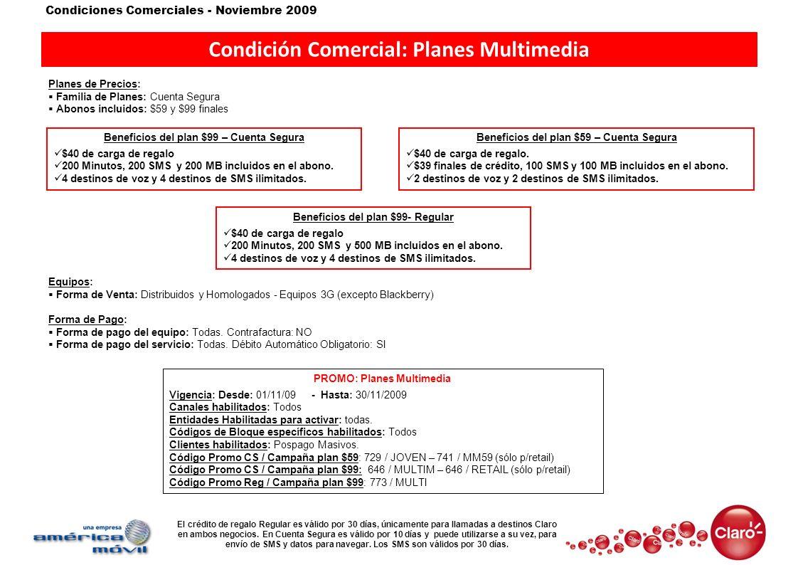 Condición Comercial: Planes Multimedia