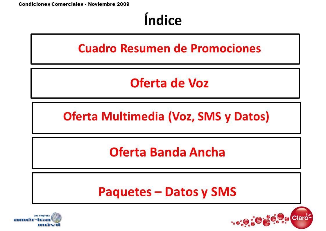 Cuadro Resumen de Promociones Oferta Multimedia (Voz, SMS y Datos)