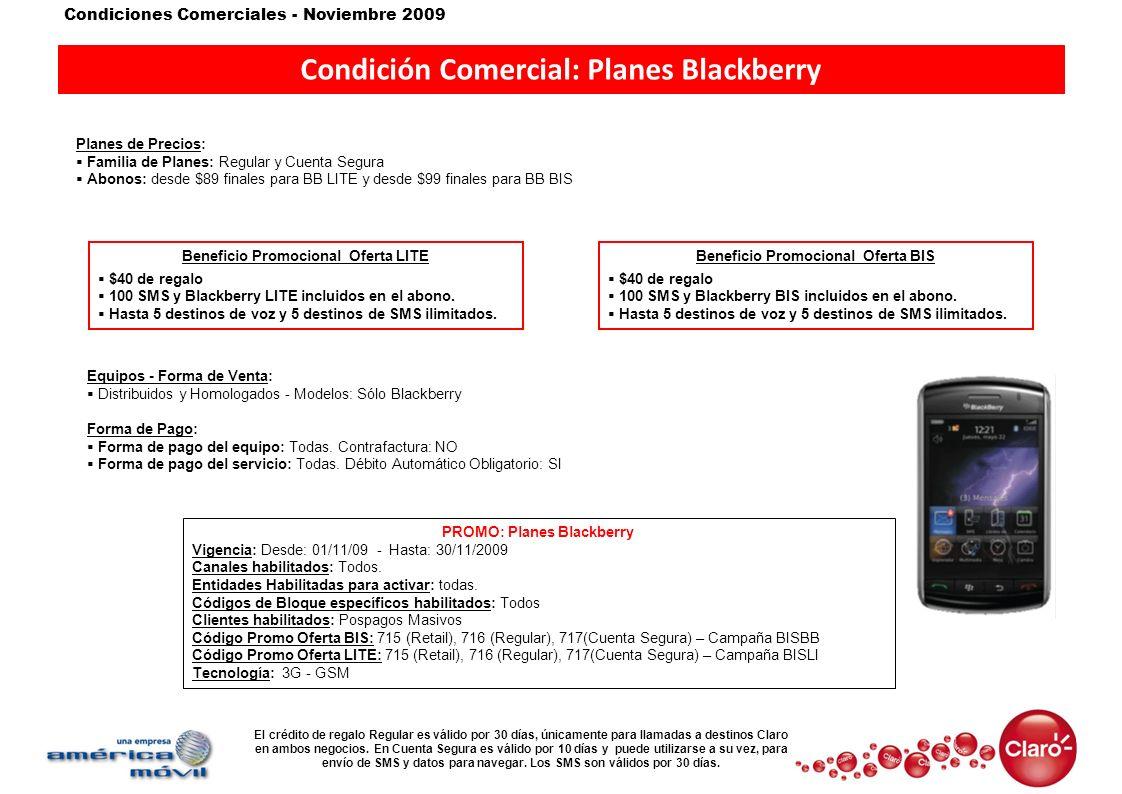 Condición Comercial: Planes Blackberry