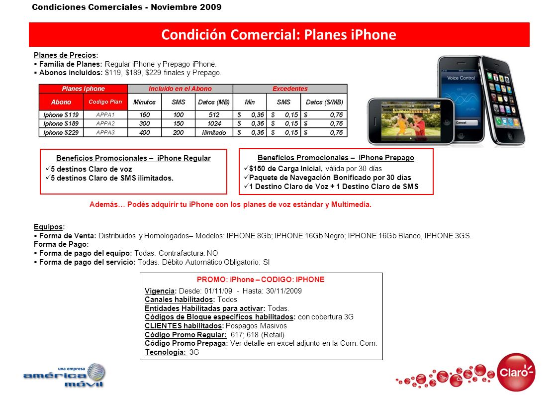 Condición Comercial: Planes iPhone