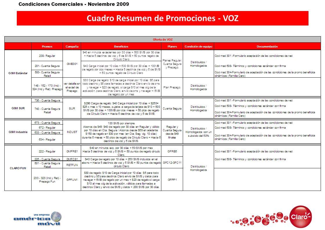 Cuadro Resumen de Promociones - VOZ
