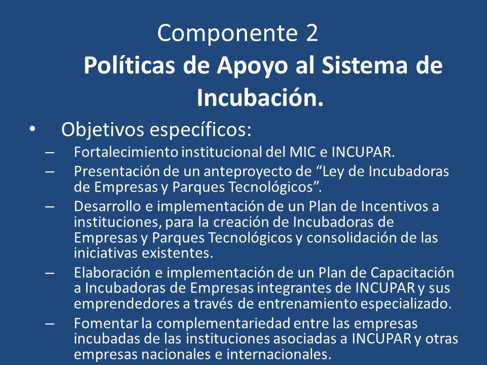 Componente 2 Políticas de Apoyo al Sistema de Incubación.